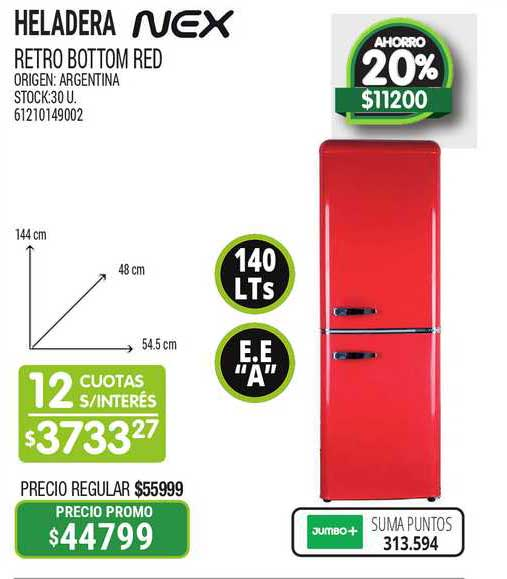Jumbo Heladera Retro Bottom Red