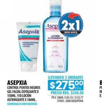 Pigmento Asepxia Control Puntos Negros Gel Facial Exfoliante X 150ml. Y-o Loción Astringente X 180ml.