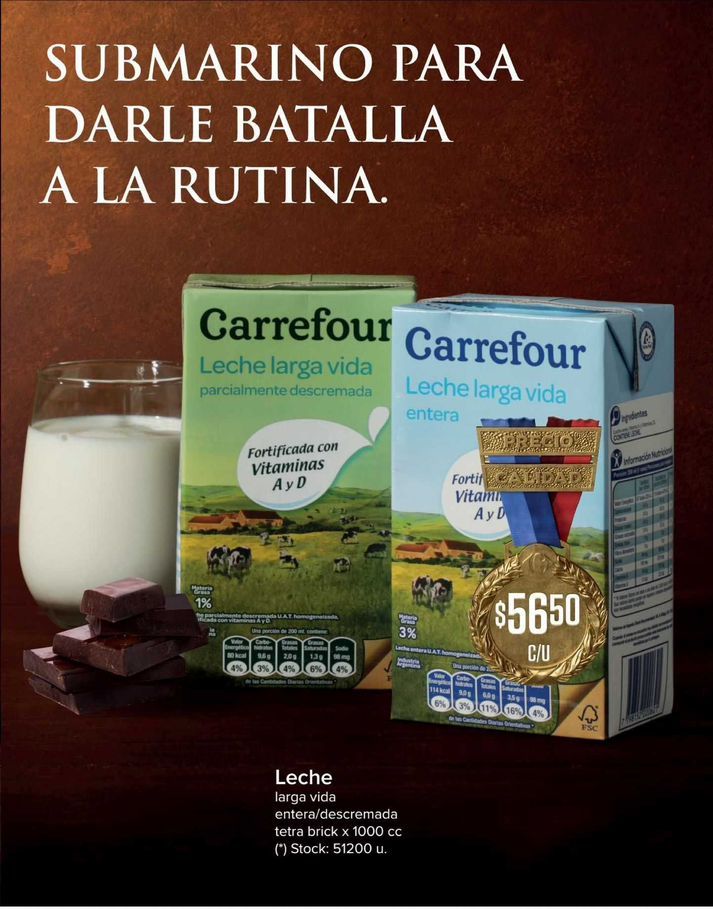 Carrefour Express Leche Larga Vida Entera-descremada Tetra Brick