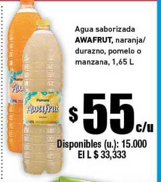 Cooperativa Obrera Agua Saborizada Awafrut Naranja Durazno, Pomelo O Manzana