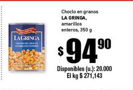 Cooperativa Obrera Choclo En Granos La Gringa Amarillos Enteros