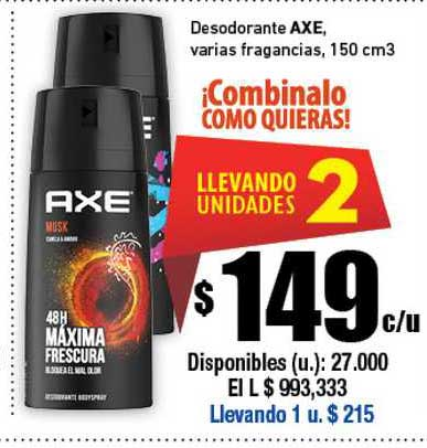 Cooperativa Obrera Desodorante Axe Varias Fragancias