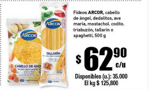 Cooperativa Obrera Fideos Arcor , Cabello De ángel, Dedalitos, Ave Maria, Mostachol, Codito Triabuzón, Tallarín O Spaghetti