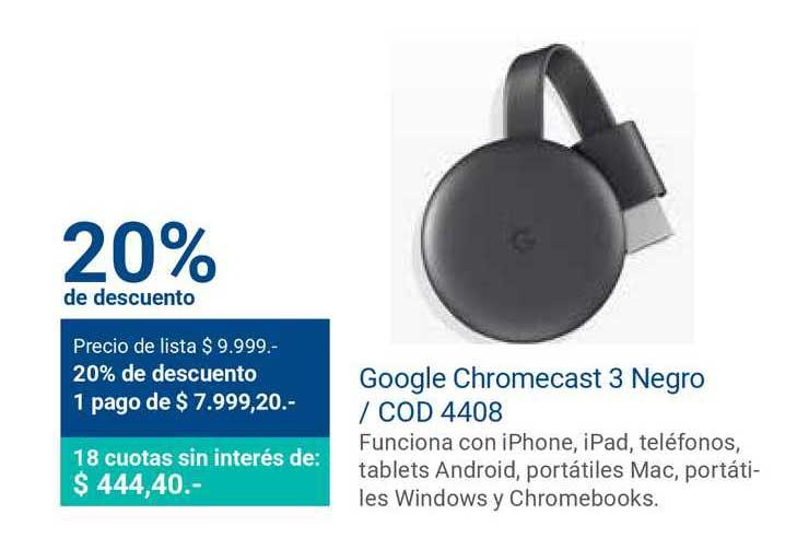 Banco Patagonia Google Chromecast 3 Negro Cod 4408 20% De Descuento