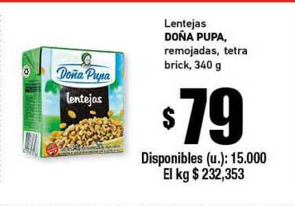 Cooperativa Obrera Lentejas Doña Pupa Remojadas Tetra Brick