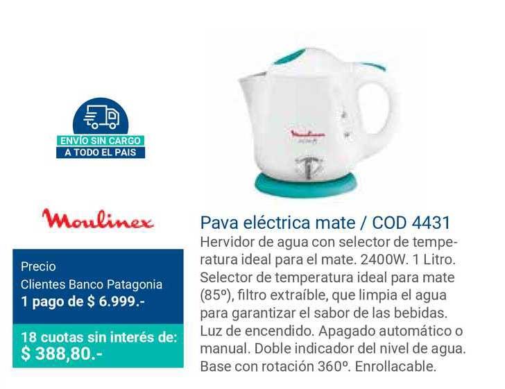Banco Patagonia Moulinex Pava Eléctrica Mate Cod 4431