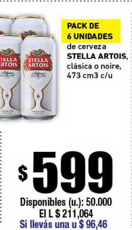 Cooperativa Obrera Pack De 6 Unidades Stella Artois Clásica O Noire