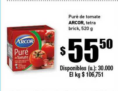Cooperativa Obrera Puré De Tomate Arcor Tetra Brick
