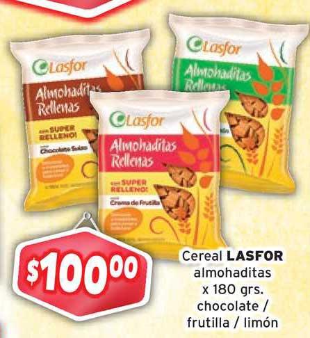 Borbotti Hipermercado Cereal Lasfor Almohaditas X180 Grs. Chocolate- Frutilla - Limon