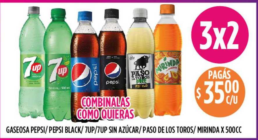 Supermercados Toledo Gaseosa Pepsi - Pepsi Black - 7up - 7up Sin Azúcar - Paso De Los Toros - Mirinda
