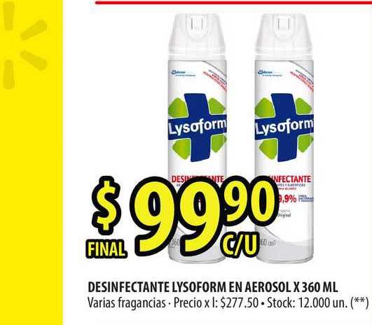 Punto Mayorista Desinfectante Lysoform En Aerosol X 360 Ml