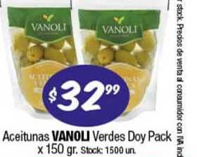 Cordiez Aceitunas Vanoli Verdes Doy Pack X 150 Gr.