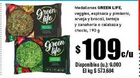 Cooperativa Obrera Medallones Green Life, Veggies, Espinaca Y Pimiento, Arveja Y Brócoli, Lenteja Y Zanahoria O Calabaza Y Choclo
