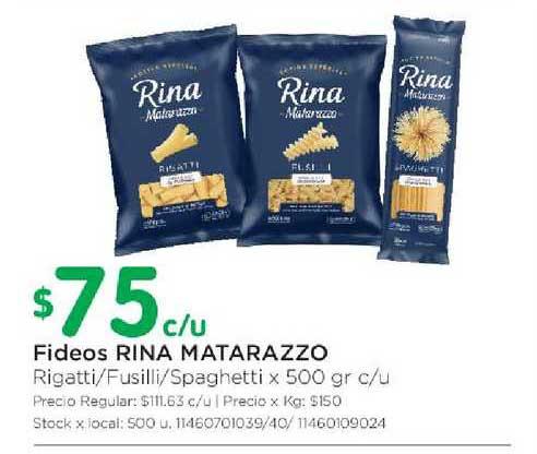 Jumbo Fideos Rina Matarazzo Rigatti-Fusilli-Spaghetti X 500 Gr C-u