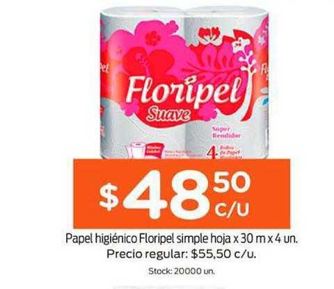 Super Mami Papel Higiénico Floripel Simple Hoja X 30 M X 4 Un.