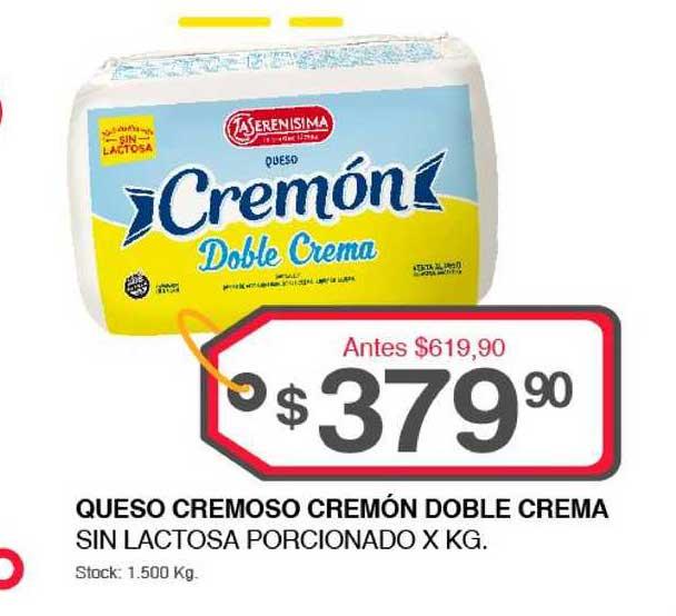 Supermercados Tadicor Queso Cremoso Cremón Doble Crema Sin Lactosa Porcionado