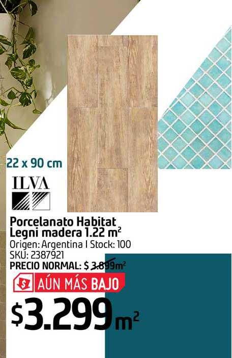Sodimac Porcelanato Habitat Legni Madera 1.22m2 Ilva