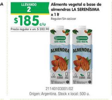 Jumbo Alimento Vegetal A Base De Almendras La Serenísima X 1Lt