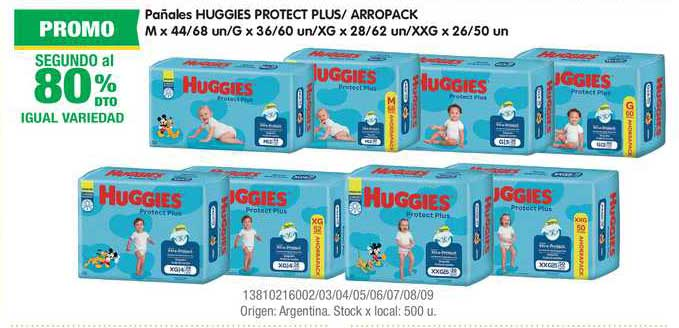 Jumbo Pañales Huggies Protect Plus- Arropack M X 44-68 Un-G X 36-60 Un-XG X 28-62 Un-XXG X 26-50 Un