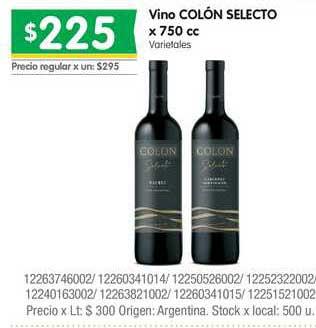 Jumbo Vino Colón Selecto X 750 Cc