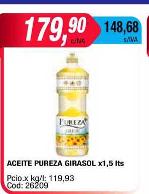 Maxiconsumo Aceite Pureza Girasol X1,5 Lts