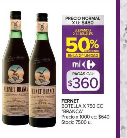 Carrefour Fernet Botella X 750 Cc