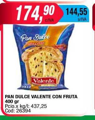 Maxiconsumo Pan Dulce Valente Con Fruta 400 Gr