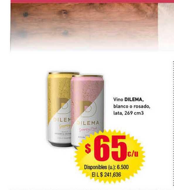 Cooperativa Obrera Vino Dilema, Blanco O Rosado, Lata, 269 Cm3