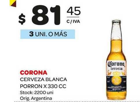 Carrefour Maxi Corona Cerveza Blanca Porron X 330 CC