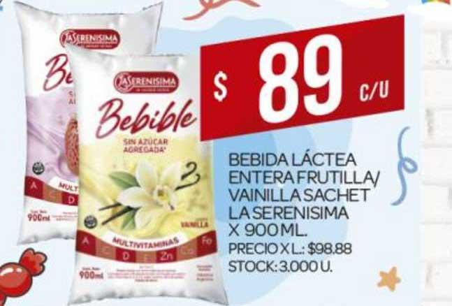 Supermercados DIA Bebida Láctea Entera Frutilla- Vainilla Sachet La Serenisima X 900 ML