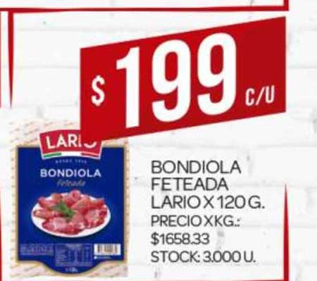 Supermercados DIA Bondiola Feteada Lario
