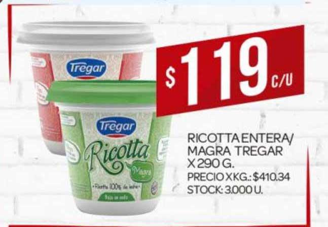 Supermercados DIA Ricotta Entera- Magra Tregar X 290 G