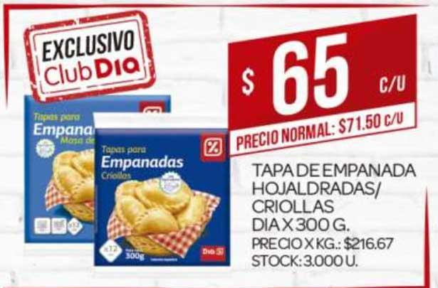 Supermercados DIA Tapa De Empanada Hojaldradas- Criollas Dia X 300G