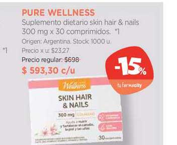 Farmacity Pure Wellness Suplemento Diétario Skin Hair & Nails