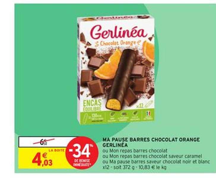 Offre Ma Pause Barres Chocolat Orange Gerlinéa -34% De ...