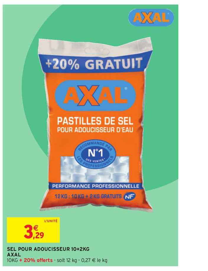 Offre Sel Pour Adoucisseur 10+2 Kg Axal chez Intermarche Hyper