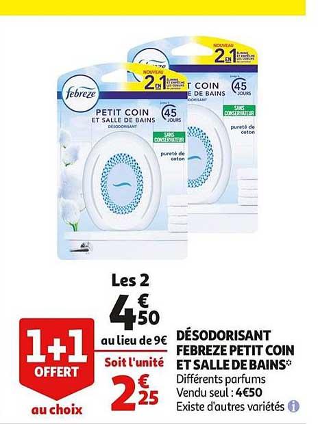 Auchan Désodorisant Febreze Petit Coin Et Salle De Bains 1+1 Offert Au Choix