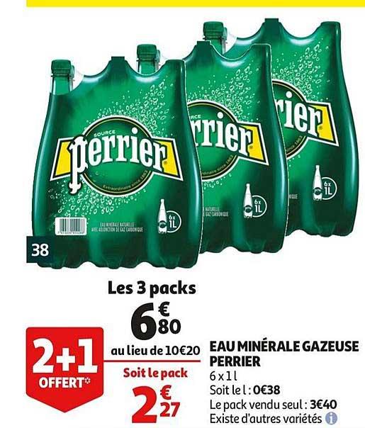 Auchan Eau Minérale Gazeuse Perrier 2+1 Offert