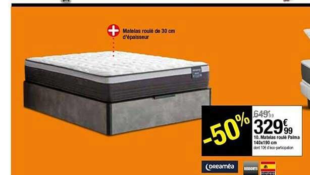 BUT Matelas Roulé Palma 140 X 190 Cm Dreaméa