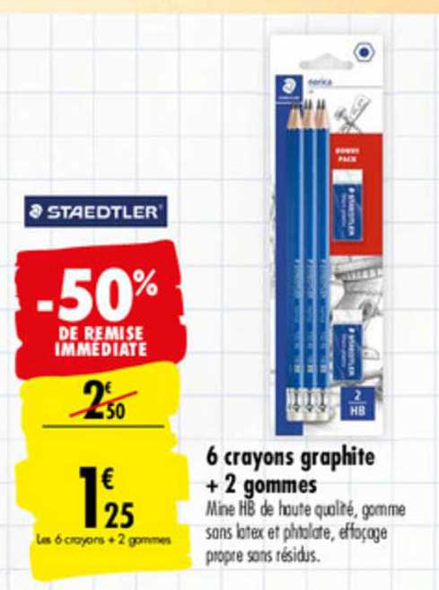 Carrefour 6 Crayons Graphite + 2 Gommes Staedtler