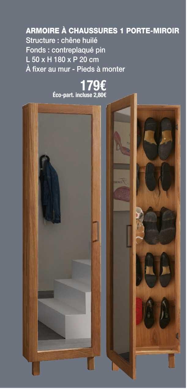 Cocktail Scandinave Armoire à Chaussures 1 Porte Miroir