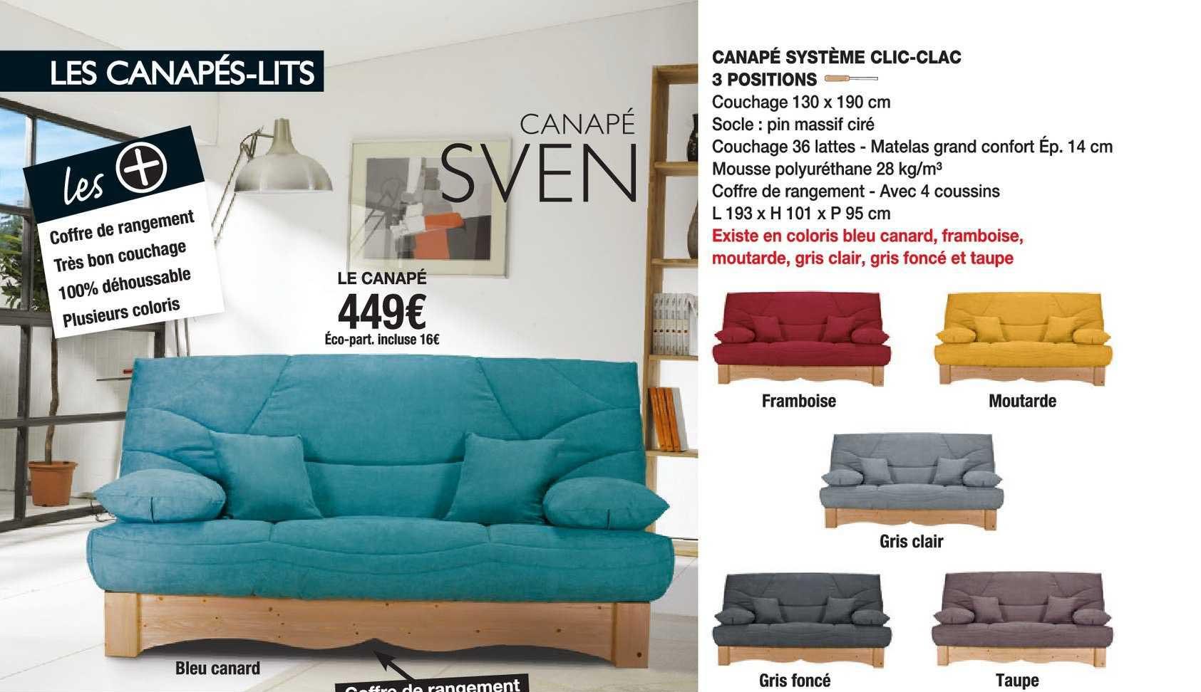Cocktail Scandinave Canapé Sven : Système Clic-clac 3 Positions