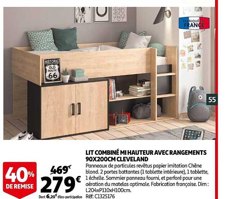 Offre Lit Combine Mi Hauteur Avec Rangements 90 X 200 Cm Cleveland Chez Auchan