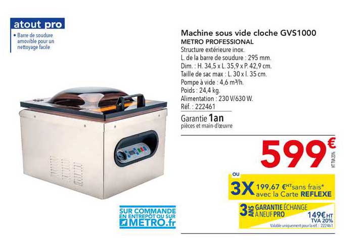 METRO Machine Sous Vide Cloche Gvs1000 Metro Professional