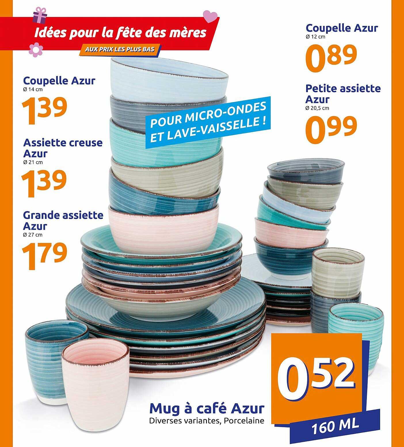 Action Coupelle Azur , Assiette Creuse Azur , Grande Assiette Azur , Coupelle Azur , Petite Assiette Azur , Mug A Cafe Azur
