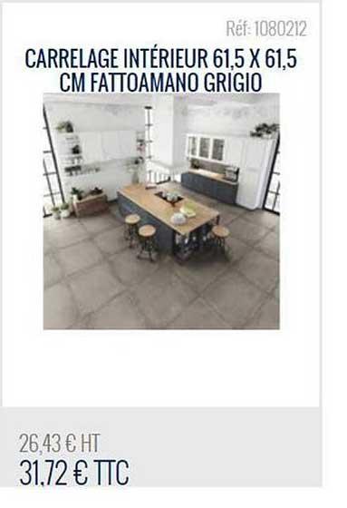 Bricoman Carrelage Intérieur 61.5x61.5 Cm Fattoamano Grigio