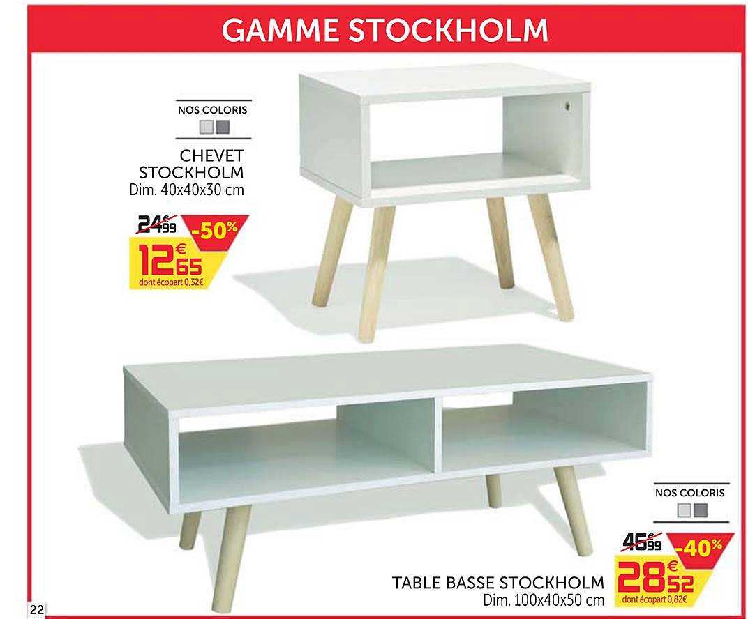 Offre Chevet Stockholm Table Basse Stockholm chez GiFi