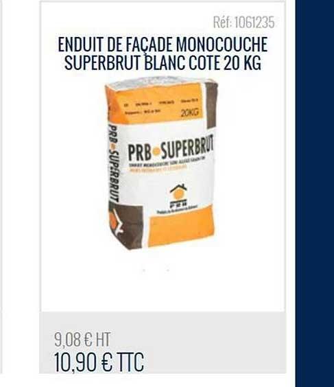 Bricoman Enduit De Façade Monocouche Superbrut Blanc Cote 20 Kg