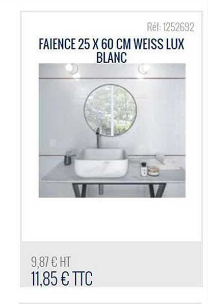 Bricoman Faience 25x60 Cm Weiss Lux Blanc