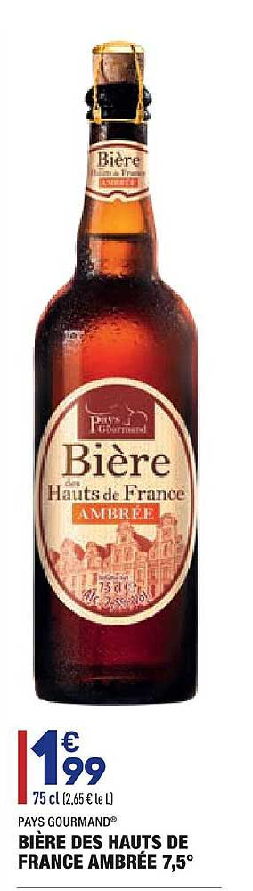 Aldi Bière Des Hauts De France Ambrée 7.5° Pays Gourmand